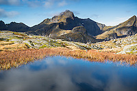 Hermannsdalstinden mountain peak in Autumn, Moskenesøya, Lofoten Islands, Norway