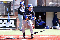 ELON, NC - MARCH 1: Jordan Schaffer #1 of Indiana State University hits the ball during a game between Indiana State and Elon at Walter C. Latham Park on March 1, 2020 in Elon, North Carolina.