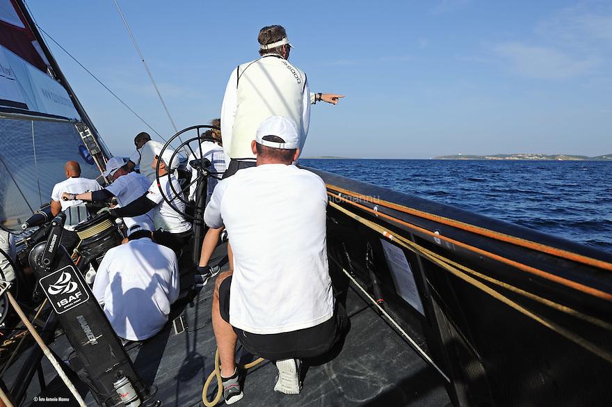 Louis Vuitton Trophy La Maddalena 26 maggio 2010. A bordo di All4One durante una regata con Luna Rossa vinta dai franco tedeschi