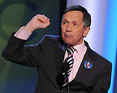 Denver, CO - August 26, 2008 --  United States Representative Dennis Kucinich (Democrat of Ohio) and former candidate for the 2008 Democratic Nomination for President makes remarks at the 2008 Democratic National Convention at the Pepsi Center in Denver, Colorado on Tuesday, August 26, 2008..Credit: Ron Sachs - CNP.(RESTRICTION: NO New York or New Jersey Newspapers or newspapers within a 75 mile radius of New York City)