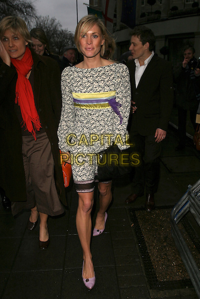 JENNI FALCONER.Leaving The TRIC Awards (Television & Radio Industries Club) at the Great Room, Grosvenor House, Park Lane, Londnn, UK..March 7th, 2006.Ref: AH.full length black white yellow purple dress pattern Jenny.www.capitalpictures.com.sales@capitalpictures.com.© Capital Pictures.