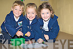 DRAWING; Diarmuid Behan, Aoibhe O'Halloran and kate Kenny enjoying their drawing on their first day at GlenDerry National School Ballyheigue on Tuesday.... ....