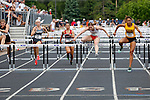 28 MAY 2016:  Melanie Winters of Baldwin Wallace leads the pack of runners in the women's 100 meter hurdles during the Division III Men's and Women's Outdoor Track & Field Championship held at Walston Hoover Stadium on the Wartburg College campus in Waverly, IA. Winters won the race with a time of 13.78. Conrad Schmidt/NCAA Photos