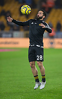 27th December 2019; Molineux Stadium, Wolverhampton, West Midlands, England; English Premier League, Wolverhampton Wanderers versus Manchester City; Joao Moutinho of Wolverhampton Wanderers chests the ball during the warm up - Strictly Editorial Use Only. No use with unauthorized audio, video, data, fixture lists, club/league logos or 'live' services. Online in-match use limited to 120 images, no video emulation. No use in betting, games or single club/league/player publications