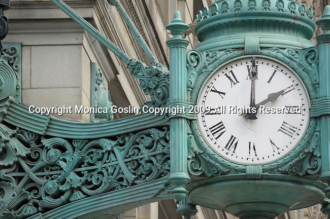 The clock outside of Macy's in downtown Chicago.