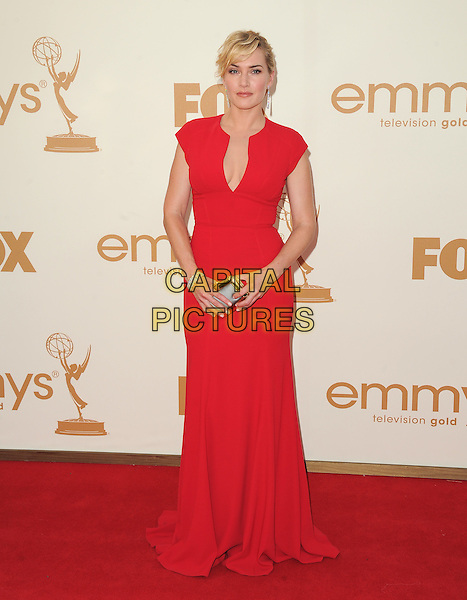 Kate Winslet (wearing Elie Saab)  .15th Annual Entertainment Tonight Emmy Party held at Vibiana, Los Angeles, California, USA..September 18th, 2011.emmys full length red dress sleeveless  .CAP/RKE/DVS.©DVS/RockinExposures/Capital Pictures.