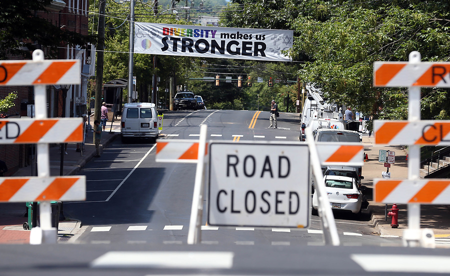 Market Street remained close Sunday after the Unite the Right rally Sun., August 13, 2017 outside City Hall in Charlottesville, Va. The previous day, a woman was killed and several others injured after the Unite the Right rally, organized by Jason Kessler. Photo/Andrew Shurtleff