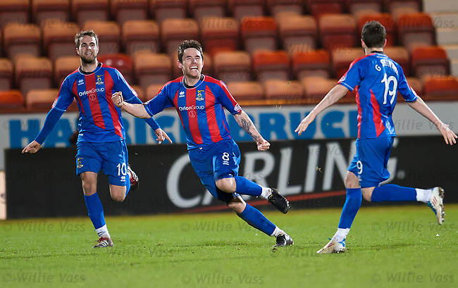 Greg Tansey celebrates after scoring for Inverness