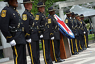 Washington, DC - May 15, 2014: Officers from the Dekalb County, Georgia, police participate in the wreath laying ceremony at the National Law Enforcement Officers Memorial in the District of Columbia. The ceremony was part of National Police Week activities. (Photo by Don Baxter/Media Images International)