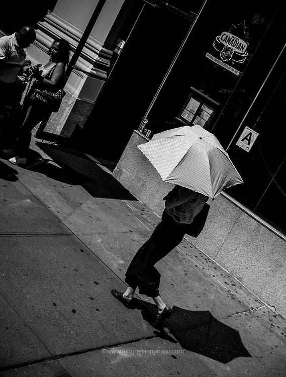 woman with umbrella, New York,