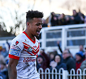 10th February 2019, Belle Vue, Wakefield, England; Betfred Super League rugby, Wakefield Trinity versus St Helens; Regan Grace of St Helens celebrates after he scores a try to make it 12-14