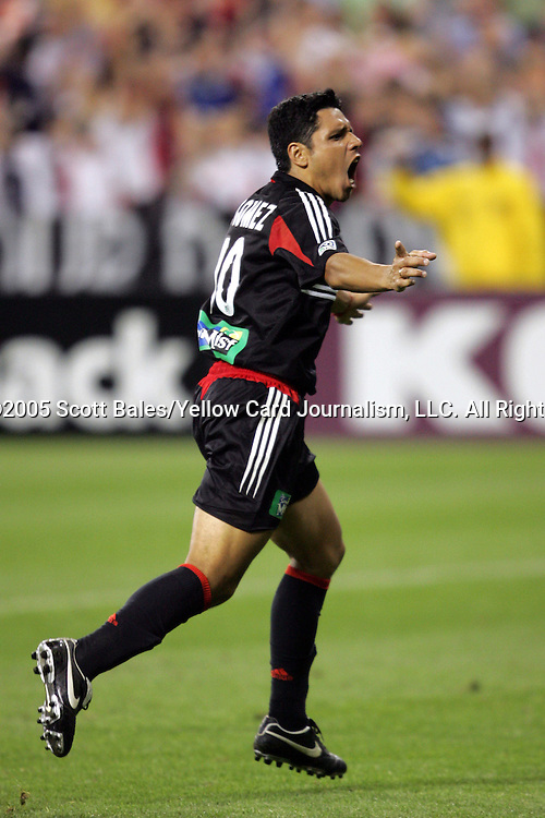 21 May 2005: DC United's Christian Gomez celebrates his 69th minute goal, which gave DC the lead 2-1. DC United defeated the Kansas City Wizards 3-2 at RFK Stadium in Washington, DC in a regular season Major League Soccer game. . .
