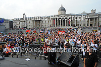 Peoples March for the NHS - Central London, Saturday 6th Sept 2014 - <br /> <br /> Trafalgar Sq. is packed full of NHS supporters. <br /> <br /> <br /> <br /> <br /> <br /> Photographer: Jeff Thomas - Jeff Thomas Photography - 07837 386244/07837 216676 - www.jaypics.photoshelter.com - swansea1001@hotmail.co.uk