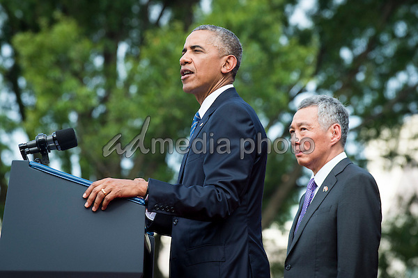 Prime Minister Lee Hsien Loong of Singapore looks on as United States President Barack Obama speaks during official welcoming ceremonies on the South Lawn of the White House in Washington, DC on August 2, 2016. Lee is on a State Visit to the United States. Photo Credit: Pete Marovich/CNP/AdMedia
