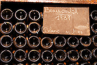 Pile of bottles Beaucastel blanc white 1989. Chateau de Beaucastel, Domaines Perrin, Courthézon Courthezon Vaucluse France Europe