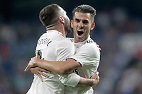 Real Madrid's Dani Ceballos (r) and Daniel Carvajal celebrate goal during La Liga match. August 19,2018.  *** Local Caption *** &copy; pixathlon<br /> Contact: +49-40-22 63 02 60 , info@pixathlon.de