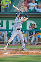 Jack Yalowitz (5) of the Grand Junction Rockies at bat against the Ogden Raptors at Lindquist Field on August 28, 2019 in Ogden, Utah. The Rockies defeated the Raptors 8-5. (Stephen Smith/Four Seam Images)