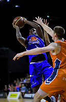 LJ Peak (Saints) in action during the national basketball league final  between Wellington Saints and Southland Sharks at TSB Bank Arena in Wellington, New Zealand on Sunday, 5 August 2018. Photo: Dave Lintott / lintottphoto.co.nz
