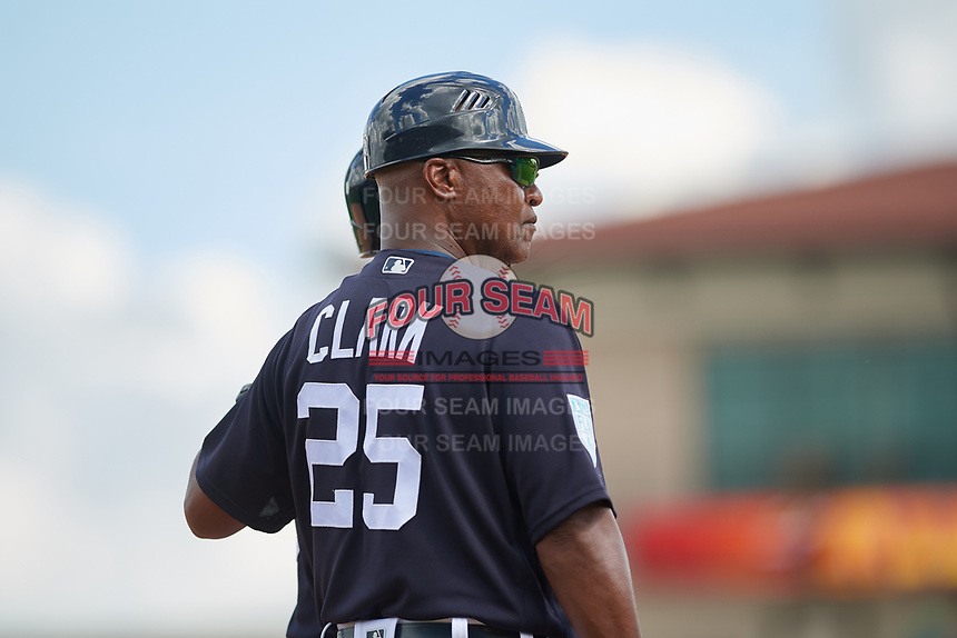 Detroit Tigers third base coach Dave Clark (25) during a Grapefruit League Spring Training game against the New York Yankees on February 27, 2019 at Publix Field at Joker Marchant Stadium in Lakeland, Florida.  Yankees defeated the Tigers 10-4 as the game was called after the sixth inning due to rain.  (Mike Janes/Four Seam Images)