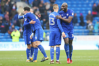 Sol Bamba of Cardiff City congratulates Anthony Pilkington after the final whistle of the Sky Bet Championship match between Cardiff City and Sunderland at the Cardiff City Stadium, Wales, UK. Saturday 13 January 2018