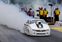 May 10, 2013; Commerce, GA, USA: NHRA pro stock driver Shane Gray during qualifying for the Southern Nationals at Atlanta Dragway. Mandatory Credit: Mark J. Rebilas-