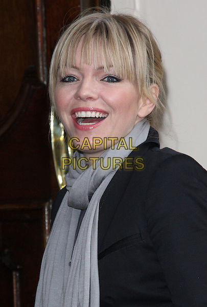 KATE THORNTON .Attending the 'Sweet Charity' Press Night at the Theatre Royal, Haymarket, London, England UK, May 4th 2010..portrait headshot black fringe grey gray scarf smiling .CAP/ROS.©Steve Ross/Capital Pictures.