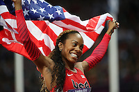 05.08.2012. London, England. Sanya Richards Ross of USA reacts After Winning in Womens 400m Final  London 2012 Olympic Games in London  Sanya Richards Ross of USA Won Gold Medal