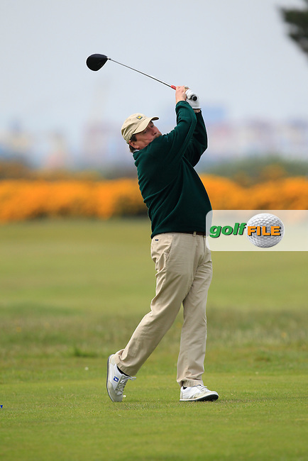 Kevin McIntyre (President Golfing Union of Ireland) on the 3rd tee during the Flogas Irish Amateur Open Championship Am-Am at Royal Dublin on Monday 9th May 2016.<br /> Picture:  Thos Caffrey / www.golffile.ie