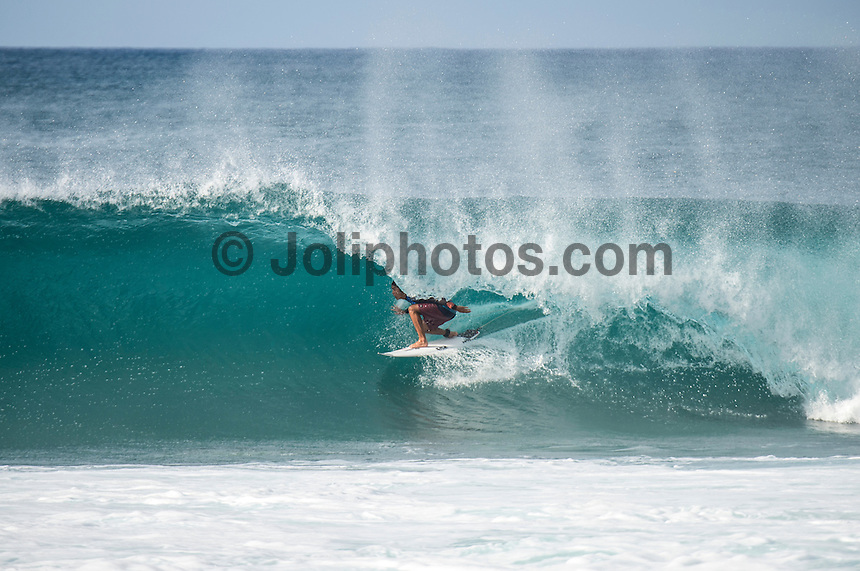 BANZAI PIPELINE, Oahu/Hawaii (Sunday, December 18, 2016) Kanoa Igarashi (USA) - The Billabong Pipe Masters in Memory of Andy Irons, the final stop on the 2016  World Championship Tour (CT) was called on this morning in classy 4'-5' foot North - North East swell. The swell direction favoured Backdoor more than Pipeline with most of the waves ridden Backdoor.<br /> <br /> It was a day of upsets with one of the favourites and world #2 Gabriel Medina losing in Round 3 while tour veteran Kai Otten not only lost in the same round but failed to requalify and dropped off the WCT tour. <br /> Photo: joliphotos
