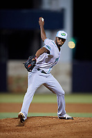 Daytona Tortugas relief pitcher Juan Martinez (18) delivers a pitch during a game against the Tampa Tarpons on April 18, 2018 at George M. Steinbrenner Field in Tampa, Florida.  Tampa defeated Daytona 12-0.  (Mike Janes/Four Seam Images)