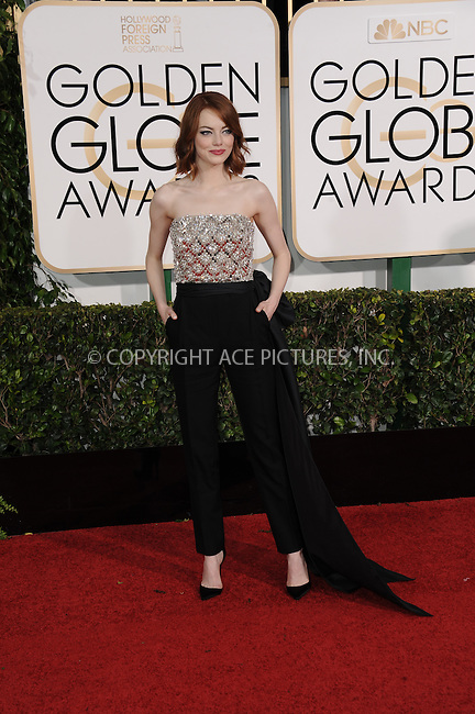 WWW.ACEPIXS.COM<br /> <br /> January 11 2015, LA<br /> <br /> Emma Stone arriving at the 72nd Annual Golden Globe Awards at The Beverly Hilton Hotel on January 11, 2015 in Beverly Hills, California.<br /> <br /> <br /> By Line: Peter West/ACE Pictures<br /> <br /> <br /> ACE Pictures, Inc.<br /> tel: 646 769 0430<br /> Email: info@acepixs.com<br /> www.acepixs.com