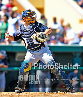 11 March 2009: New York Yankees' catcher Kevin Cash in action during a Spring Training game against the Detroit Tigers at Joker Marchant Stadium in Lakeland, Florida. The Tigers defeated the Yankees 7-4 in the Grapefruit League matchup. Mandatory Photo Credit: Ed Wolfstein Photo