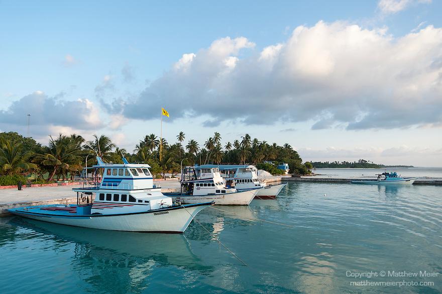 Bodufinolhu Island, Laamu Atoll, Maldives; fishing boats anchored in the harbor