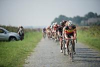 Belgian Champion Preben Van Hecke (BEL/Topsport Vlaanderen-Baloise) leadinf the peloton over the cobbles<br /> <br /> 90th Schaal Sels 2015