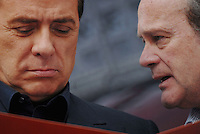 march, 15. Rome, Corviale. Electoral campaign. Alfredo Antoniozzi, province president candidate for PdL with Silvio Berlusconi. © Claudio Vitale