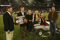 15 September 2007: Tom Bowen, Bob Bowlsby, Elizabeth Walsh, Geri Walsh, and Craig Walsh during the Bill Walsh Legacy Game trophy presentation during Stanford's 37-0 win over San Jose State at Stanford Stadium in Stanford, CA.