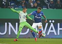 07.02.2018, Football DFB Pokal 2017/2018,   FC Schalke 04 - VfL Wolfsburg, in VELTINS-Arena Gelsenkirchen.  William (Wolfsburg)  -  Guido Burgstaller (Schalke)  *** Local Caption *** © pixathlon<br /> <br /> +++ NED out !!! +++<br /> Contact: +49-40-22 63 02 60 , info@pixathlon.de