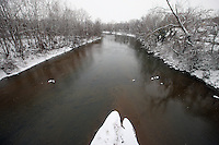 Snow covered rivanna river in Charlottesville, Va.