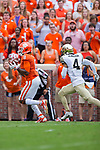 Deon Cain (8) of the Clemson Tigers catches a pass in front of Amari Henderson (4) of the Wake Forest Demon Deacons during first half action at Memorial Stadium on October 7, 2017 in Clemson, South Carolina.  The Tigers defeated the Demon Deacons 28-14. (Brian Westerholt/Sports On Film)