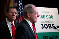 United States Senator John Barrasso (Republican of Wyoming) listens as United States Senator Jim Risch (Republican of Idaho) delivers remarks on USMCA during a press conference on Capitol Hill in Washington D.C., U.S., on Thursday, January 9, 2020.  <br /> <br /> Credit: Stefani Reynolds / CNP/AdMedia