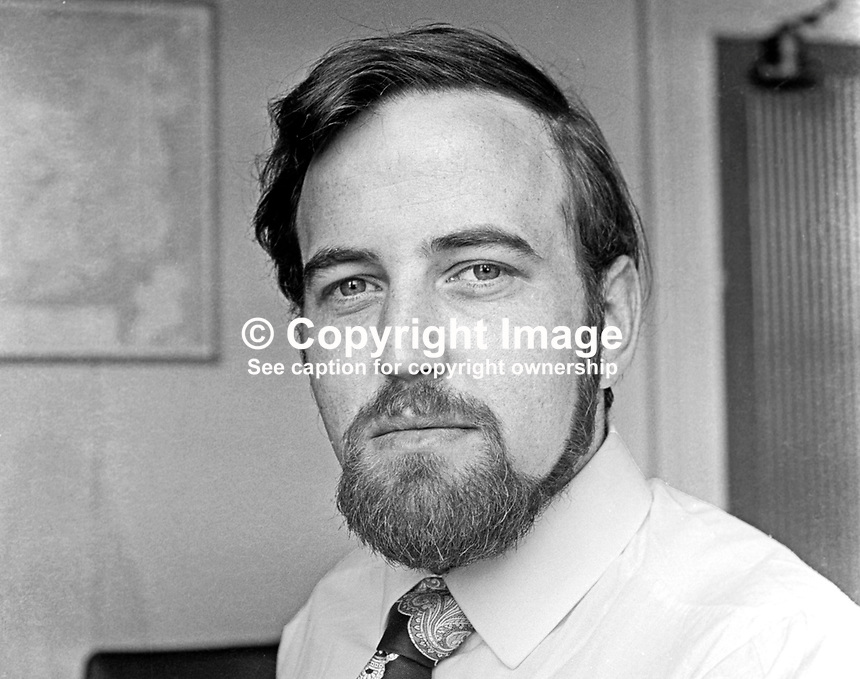 Terry Carlin, who succeeds Billy Blease, as N Ireland Officer, Irish Congress of Trade Unions, on 1st August 1975. 197507010527BW<br /> <br /> Copyright Image from Victor Patterson,<br /> 54 Dorchester Park, <br /> Belfast, UK, BT9 6RJ<br /> <br /> t1: +44 28 9066 1296 (from Rep of Ireland 048 9066 1296)<br /> t2: +44 28 9002 2446 (from Rep of Ireland 048 9002 2446)<br /> <br /> m: +44 7802 353836<br /> <br /> e: victorpatterson@me.com<br /> www.victorpatterson.com<br /> <br /> Please see my Terms and Conditions of Use at www.victorpatterson.com. It is IMPORTANT that you familiarise yourself with them.<br /> <br /> Images used on the Internet must be visibly watermarked i.e. &copy; Victor Patterson<br /> within the body of the image and copyright metadata must not be deleted. Images <br /> used on the Internet have a size restriction of 4kbs and will be chargeable at current<br />  NUJ rates unless agreed otherwise.<br /> <br /> This image is only available for the use of the download recipient i.e. television station, newspaper, magazine, book publisher, etc, and must not be passed on to any third <br /> party. It is also downloaded on condition that each and every usage is notified within 7 days to victorpatterson@me.com<br /> <br /> The right of Victor Patterson to be identified as the author is asserted in accordance with The Copyright Designs And Patents Act (1988). All moral rights are asserted.