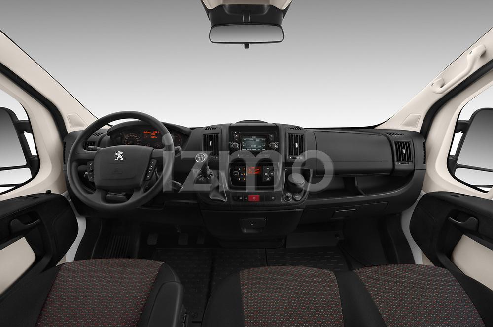 Stock photo of straight dashboard view of a 2018 Peugeot Boxer Active 4 Door Combi
