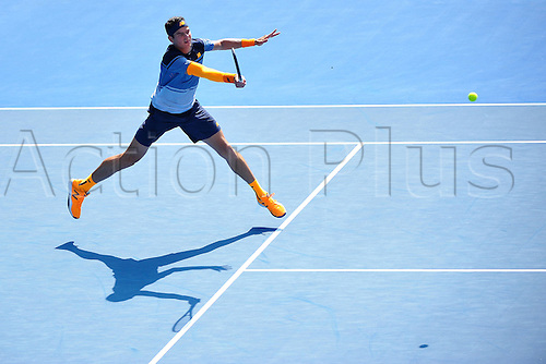 25.01.2016. Melbourne Park, Melbourne, Australia. Australian Open Tennis Championships. Start of week 2 of tournament.  Milos Raonic (CAN) beats Wawrinka in 5 sets to advance