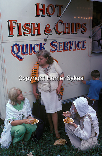 Fish and Chips at the Derby Horse race Epsom Downs Surrey Uk Circa 1985.