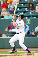 Dan Black #40 of the Winston-Salem Dash follows through on his swing against the Salem Red Sox at BB&T Ballpark on May 5, 2012 in Winston-Salem, North Carolina.  The Red Sox defeated the Dash 6-4.  (Brian Westerholt/Four Seam Images)