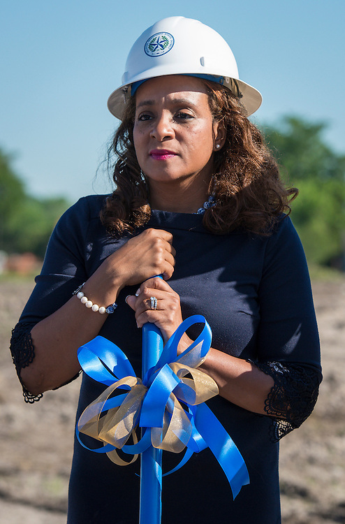 Houston ISD Trustee Rhonda Skillern-Jones participates in ground breaking ceremonies at Washington High School, April 5, 2016.