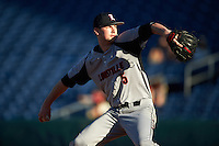 Louisville Cardinals relief pitcher Shay Smiddy (5) delivers a pitch during a game against the Ball State Cardinals on February 19, 2017 at Spectrum Field in Clearwater, Florida.  Louisville defeated Ball State 10-4.  (Mike Janes/Four Seam Images)