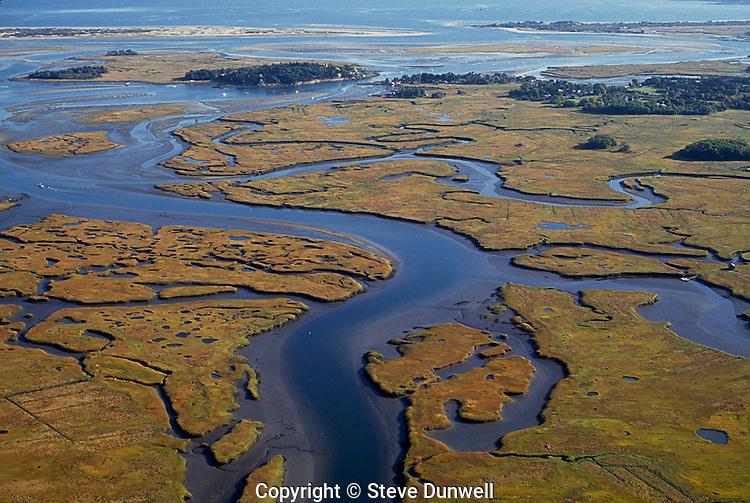 Parker River estuary aerial, Essex. MA