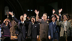"""Sherie Rene Scott, John Slattery, Nathan Lane, John Goodman, David Pittu and cast during the Broadway Opening Night performance curtain call bows for """"The Front Page""""  at the Broadhurst Theatre on October 20, 2016 in New York City."""
