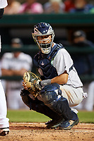 Tampa Tarpons catcher Francisco Diaz (17) looks into the dugout during a game against the Lakeland Flying Tigers on April 5, 2018 at Publix Field at Joker Marchant Stadium in Lakeland, Florida.  Tampa defeated Lakeland 4-2.  (Mike Janes/Four Seam Images)